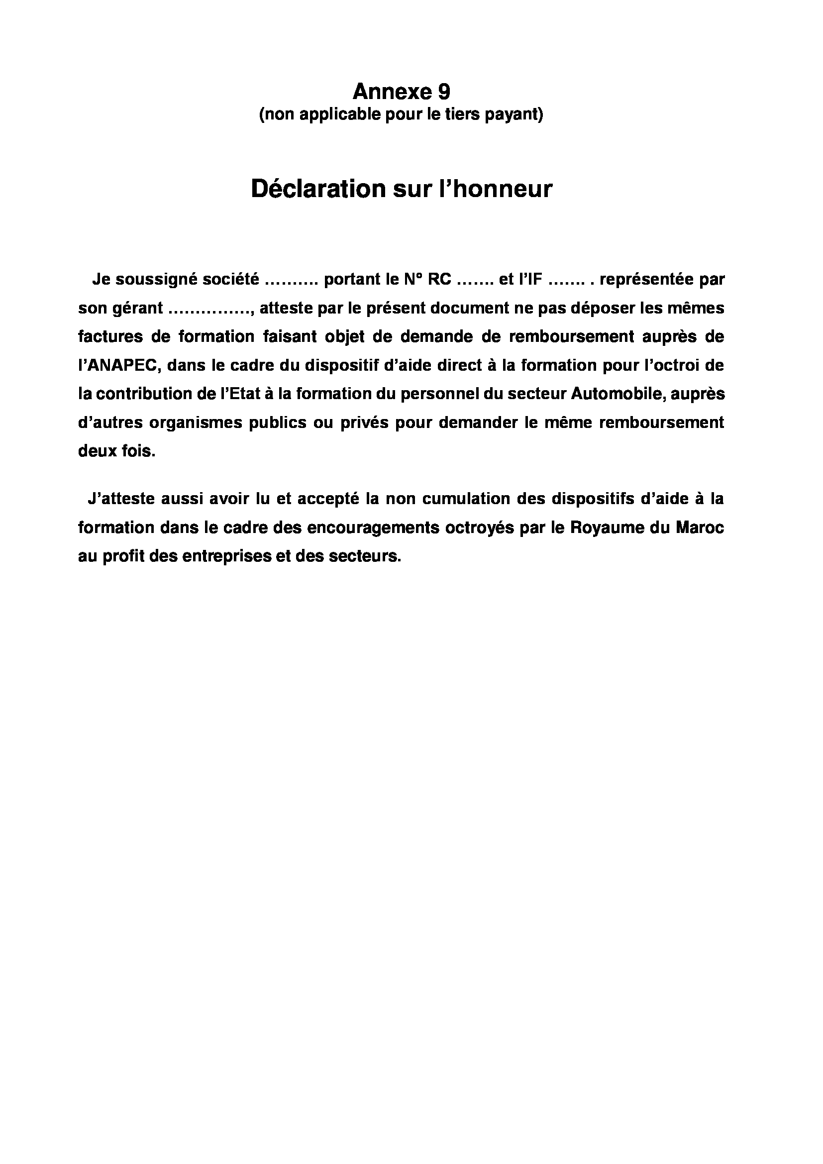 Annexe 9 Declaration Sur L Honneur